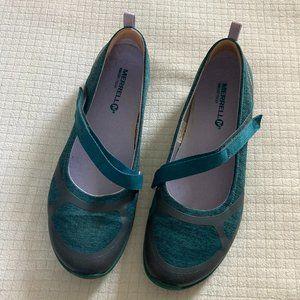 EUC Merrell Mary Jane Flats, Teal Purple, size 8